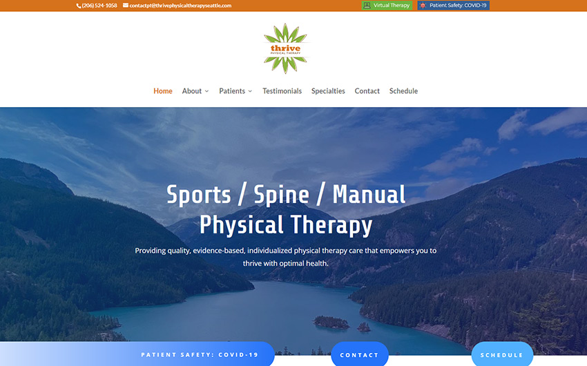 Thrive Physical Therapy home page